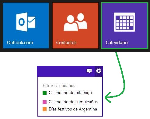Ocultar calendarios en Outlook.com