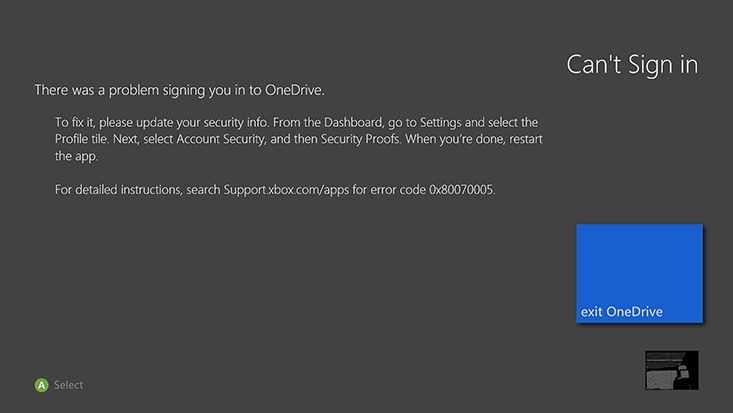 OneDrive para Xbox no responde