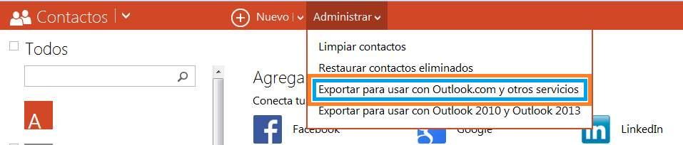Opción para exportar contactos a Outlook.com y otros servicios