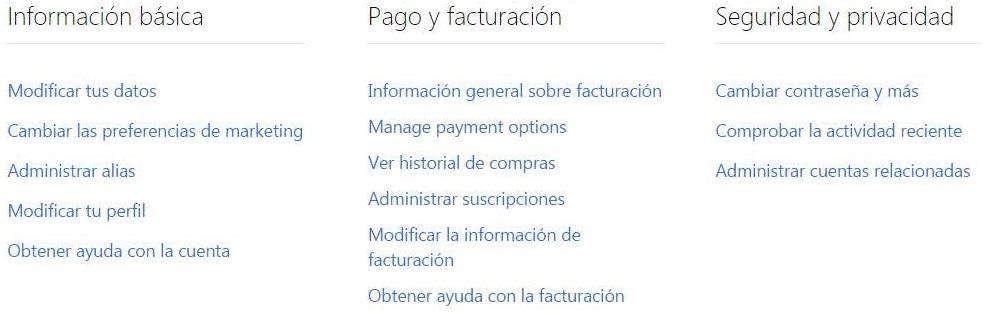 Opciones de configuración de la cuenta en Outlook.com