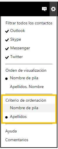 Ordenar los contactos de Outlook.com