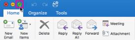 Outlook para Mac en pantalla completa
