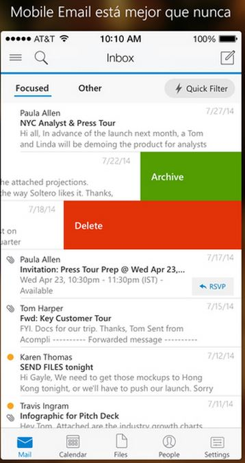 Outlook para iPhone