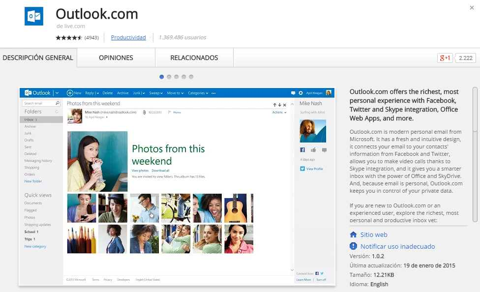 Outlook.com en Google Chrome