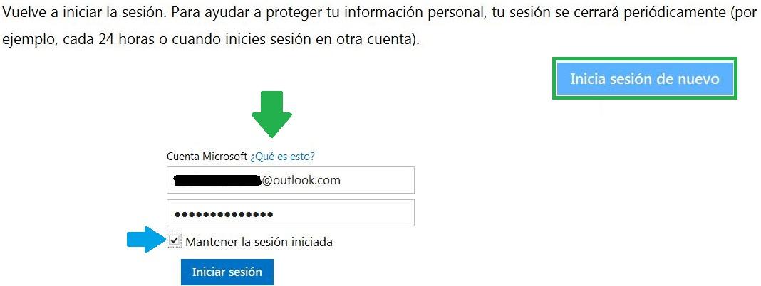 Outlook.com obliga a reiniciar sesión