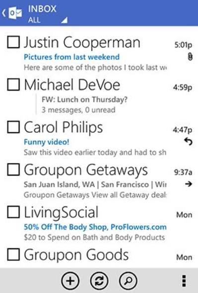 Outlook.com para Android sin conexión