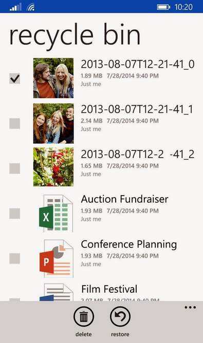 Papelera de OneDrive en Windows Phone
