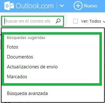 Para qué sirven las búsquedas sugeridas en Outlook.com