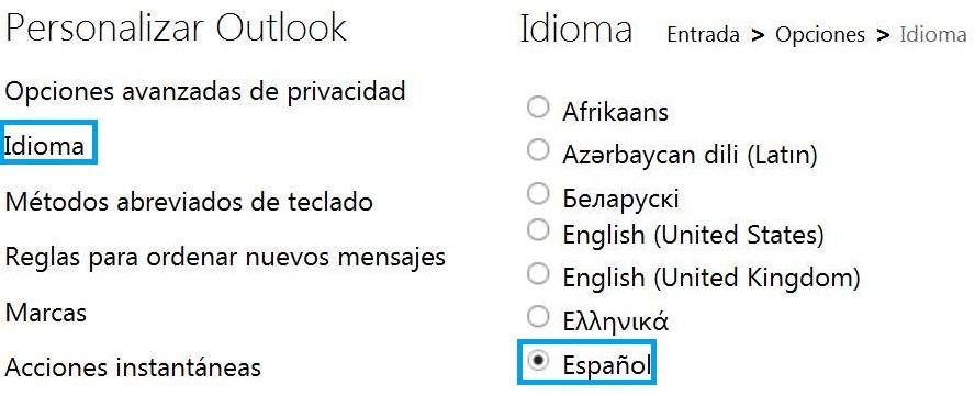Pasar Outlook a otro idioma
