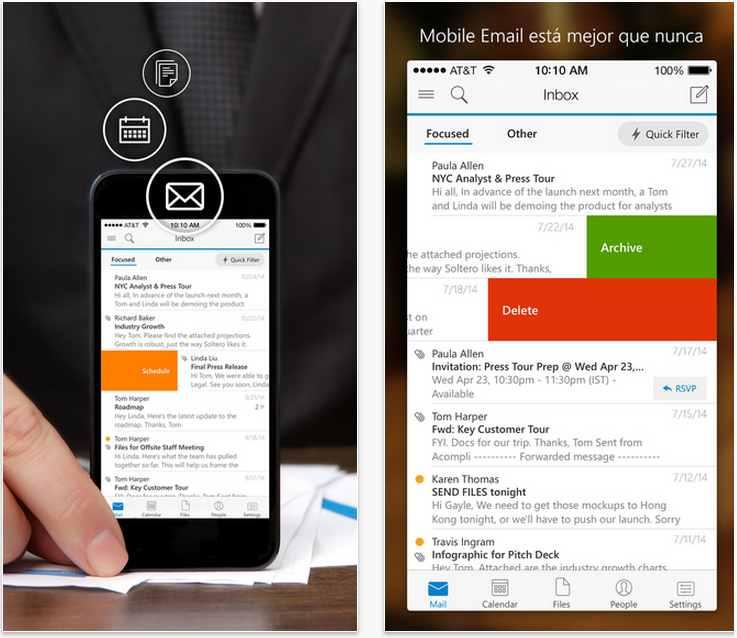 Primera actualización de Outlook para iOS