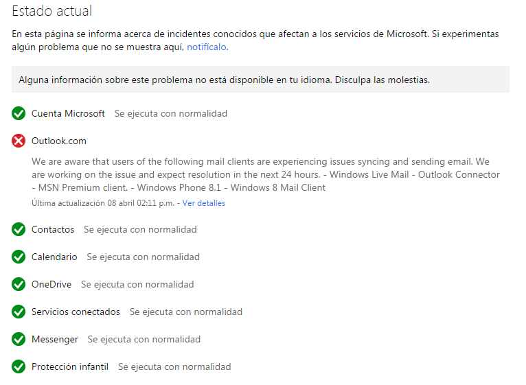 Problemas para ingresar a Outlook.com en Windows Phone
