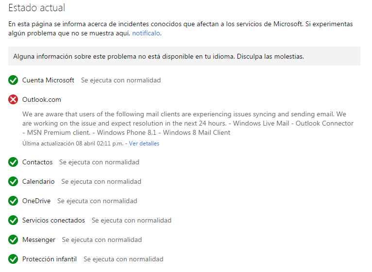 Problemas para ingresar a Outlook.com en Windows Phone