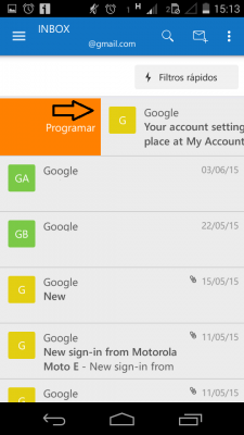 Programar correos en Outlook para Android