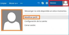 Quitar la imagen de perfil en Outlook.com
