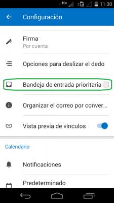 Quitar los correos prioritarios de Outlook para Android