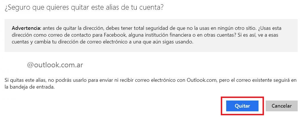 Quitar un alias en Outlook.com