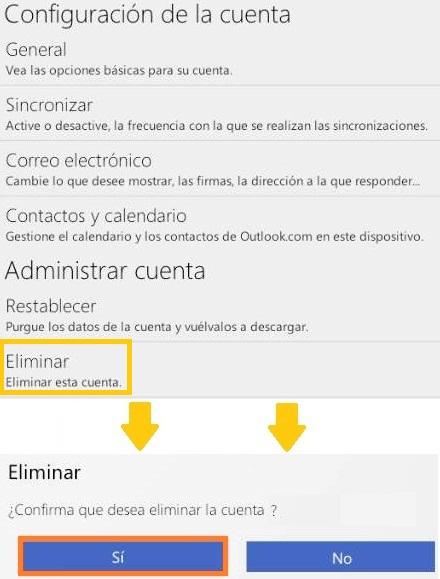 Quitar una cuenta de Outlook.com en un móvil Android