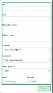 Realizar búsquedas avanzadas en Outlook.com