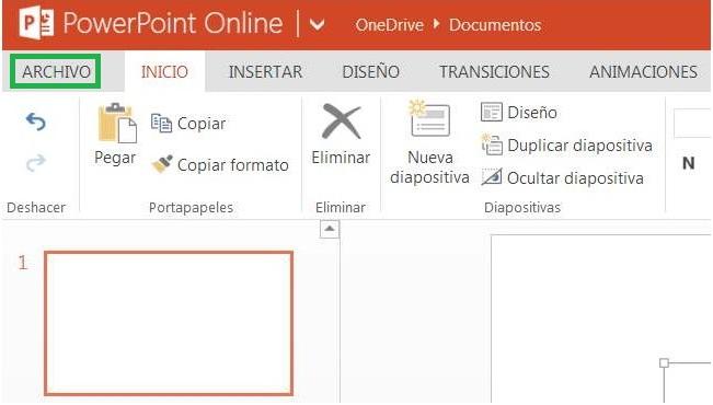 Realizar una presentación en PowerPoint Online
