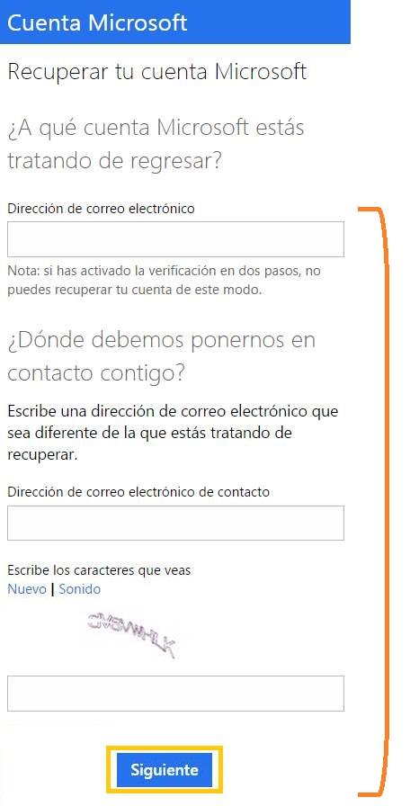 Recuperar el acceso a una cuenta Microsoft