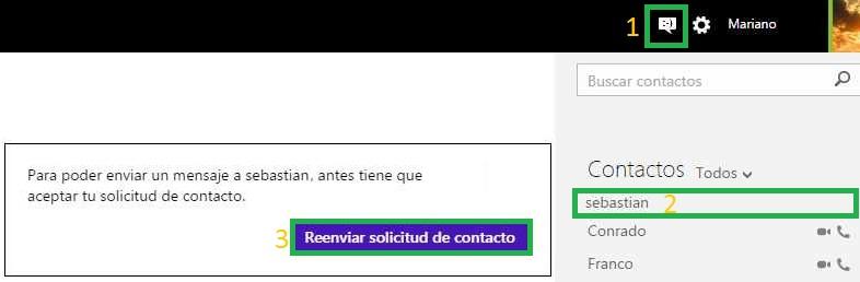 Reenviar una solicitud de contacto en Skype para Outlook.com