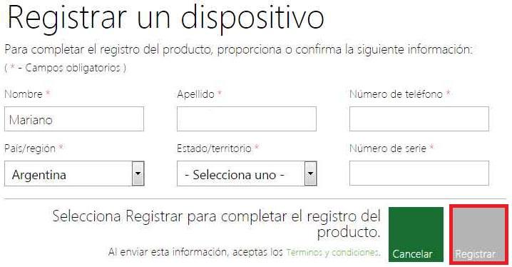 Registrar una Xbox en una cuenta de Outlook
