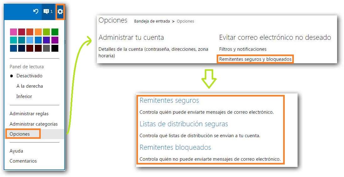 Remitentes seguros y bloqueados en Outlook.com
