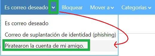 Reportar un hackeo en una cuenta de Outlook.com