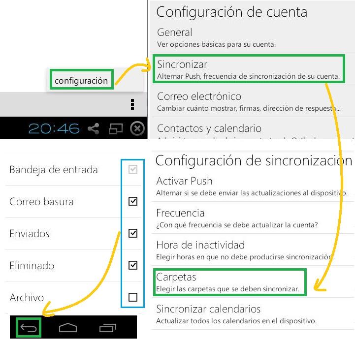 Seleccionar las carpetas a sincronizar en Outlook.com para Android