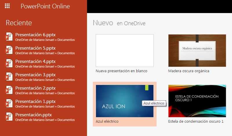 Seleccionar plantillas en PowerPoint Online