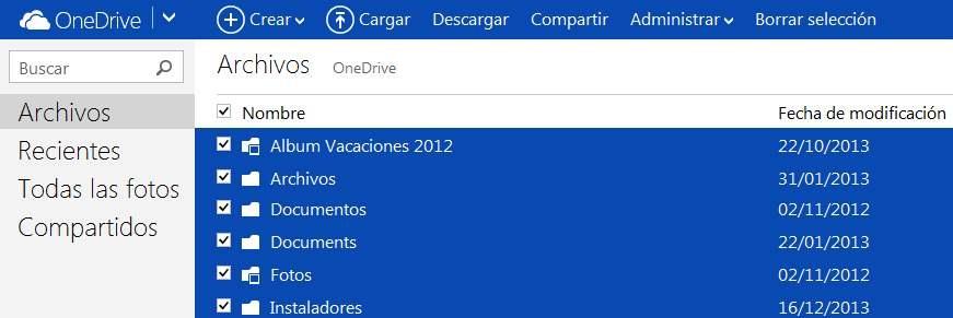 Seleccionar todo en OneDrive