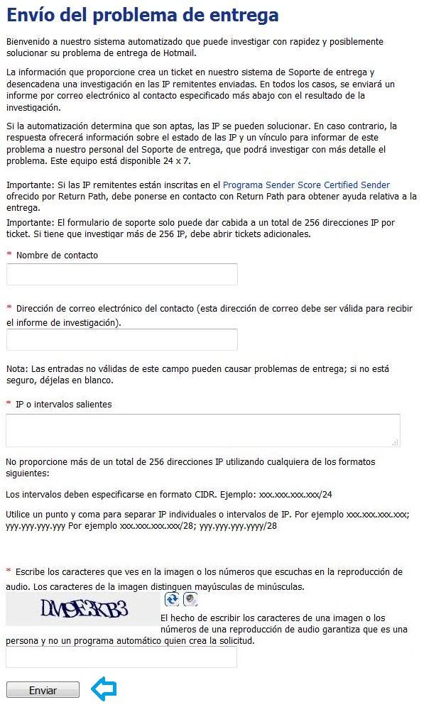 Solicitar el desbloqueo de IP en Outlook.com