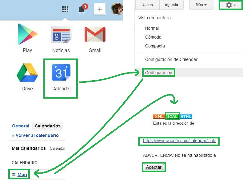 Suscribirse a un calendario de Gmail en Outlook.com