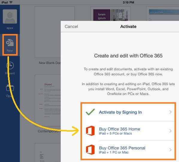 Suscribirse mensualmente a Office para  iPad