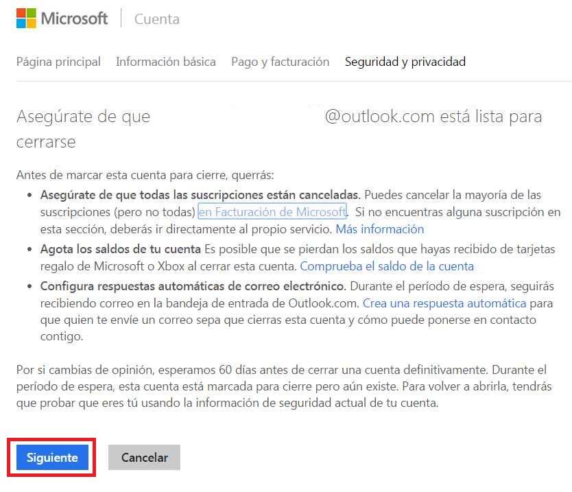 Términos y condiciones para borrar una cuenta de Outlook.com