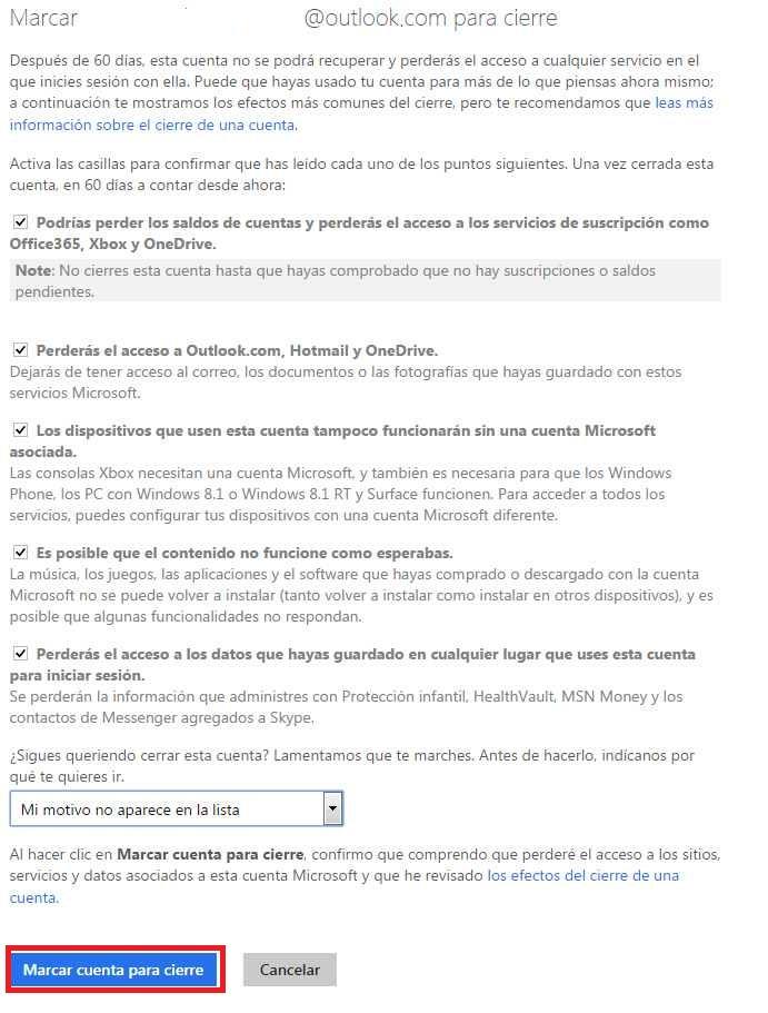 Terminos de uso para eliminar una cuenta microsoft