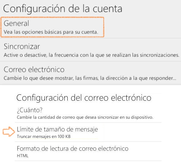 Truncar correos recibidos en Outlook.com para Android