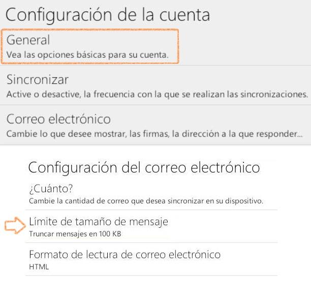 Truncar correos recibidos en Outlook.com para Android