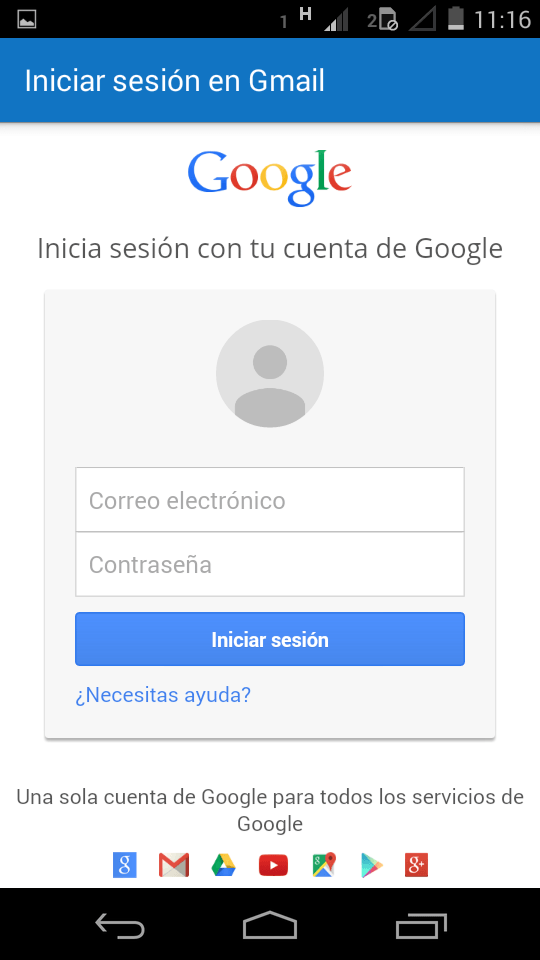 Usuario y contraseña de Gmail