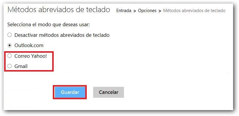 Utilizar los atajos de teclado de Yahoo o Gmail en Outlook.com