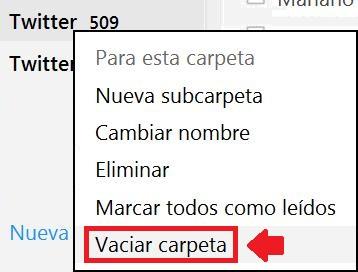 Vaciar carpetas rápidamente en Outlook.com