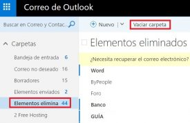 Vaciar la papelera en Outlook.com