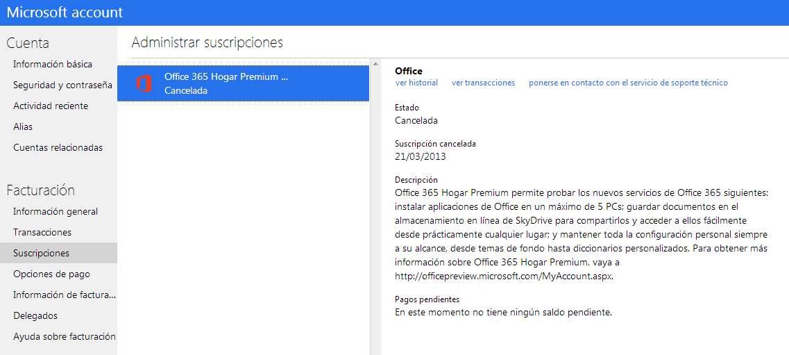 Ver las suscripciones de una cuenta en Outlook.com