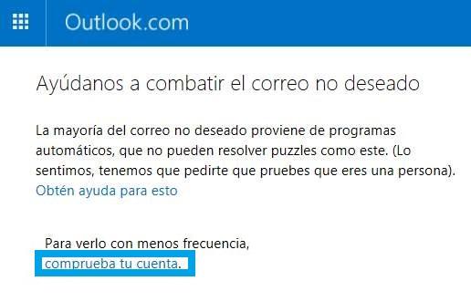 Verificación anti spam en Outlook.com