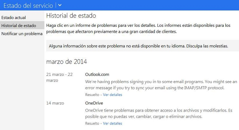Visualizar el historial de estado de Outlook.com