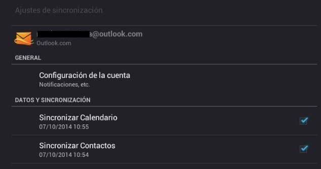 Visualizar los contactos de Outlook en Android
