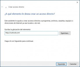 acceso directo a Outlook.com