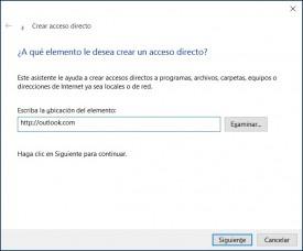 acceso directo a Outlook.com