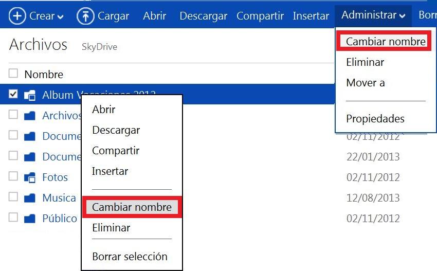 cambiar el nombre de un archivo en SkyDrive