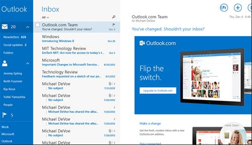 cambios en Outlook.com para Windows 8.1